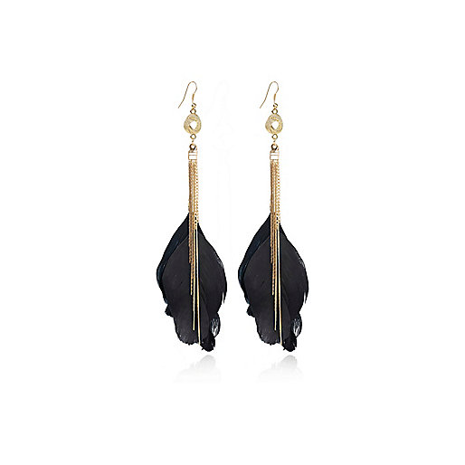Black chain knot feather drop earrings