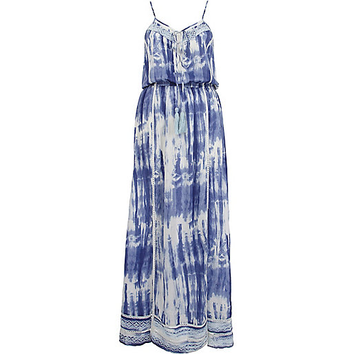 Blue tie dye lace edge maxi dress