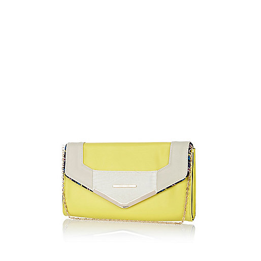 Yellow contrast panel envelope clutch bag