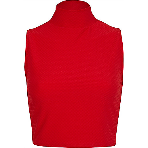 Red textured turtle neck crop top