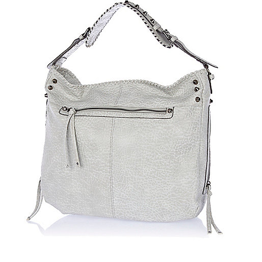 Grey tumbled whip stitch tote bucket bag