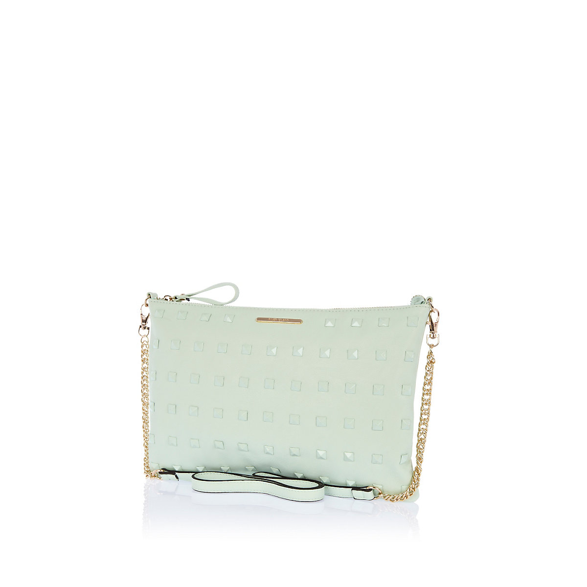 Pale green studded cross body bag