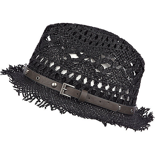 Black woven straw skull trim trilby hat