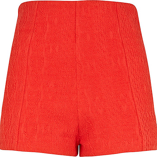 Red cable knit high waisted smart shorts