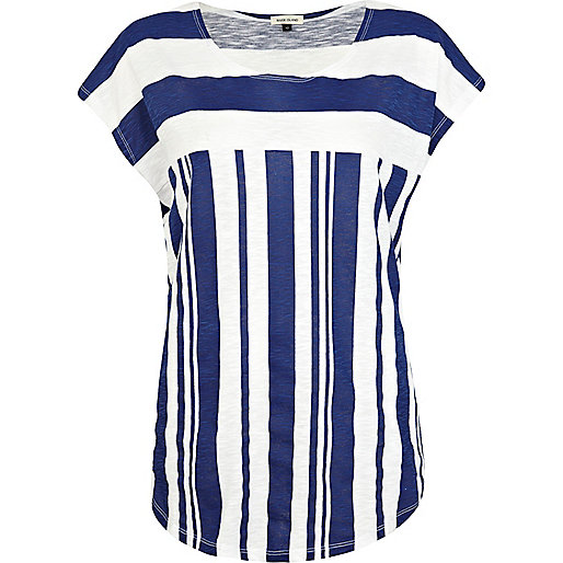 Blue stripe color block t-shirt
