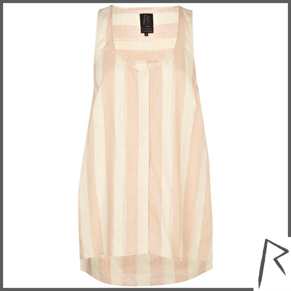 Pink stripe Rihanna linen sleeveless shirt