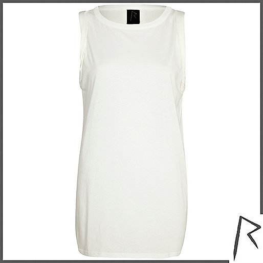 White Rihanna roll sleeve tank top
