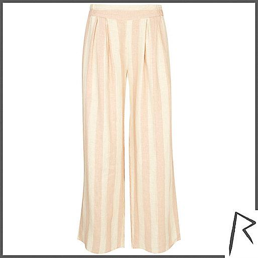 Pink stripe Rihanna wide leg pants