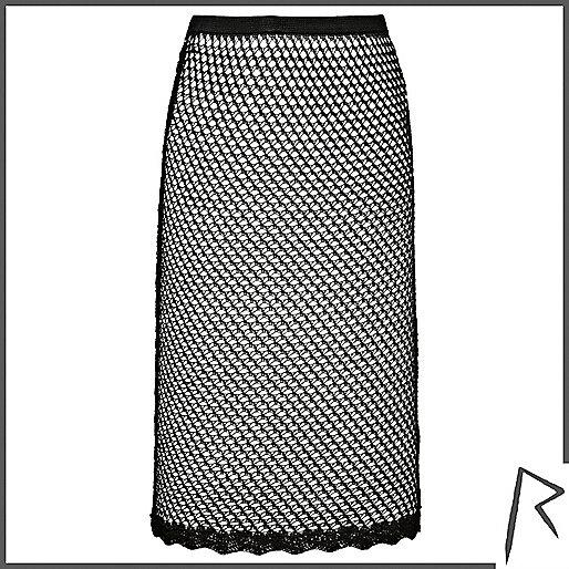 Black Rihanna crochet midi skirt