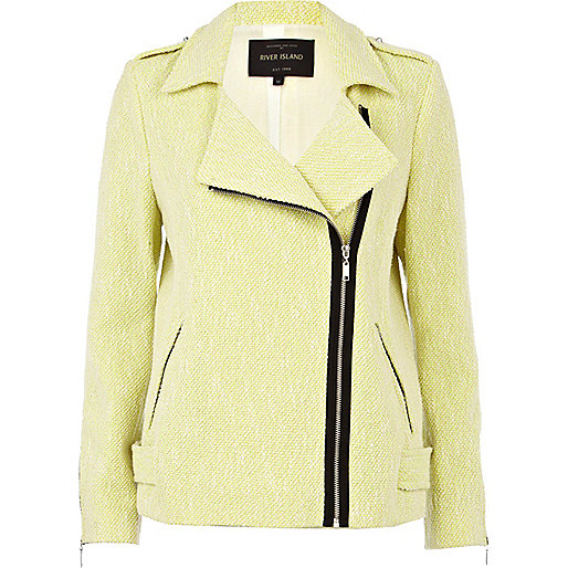 Lime tweed oversized biker jacket