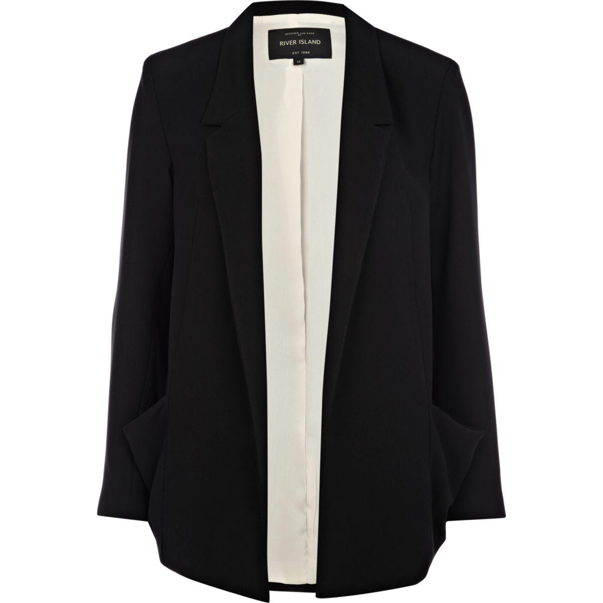 Black draped pocket boxy blazer