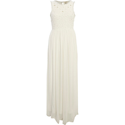 Cream lattice top maxi dress