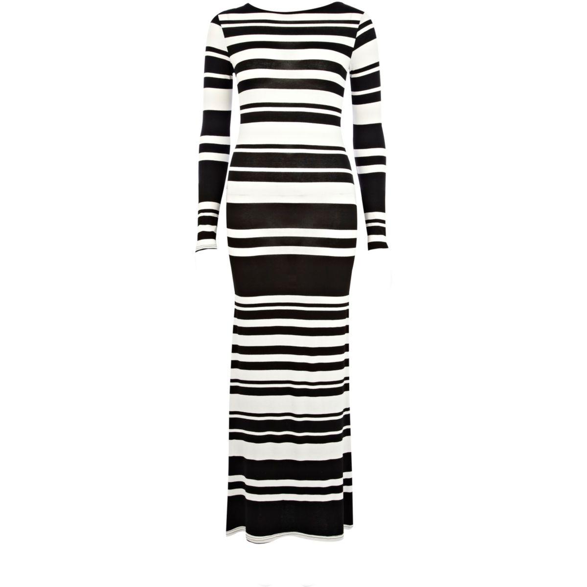 Black and white stripe cross back maxi dress