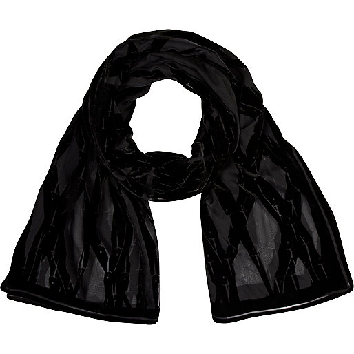 Black devore pattern long scarf