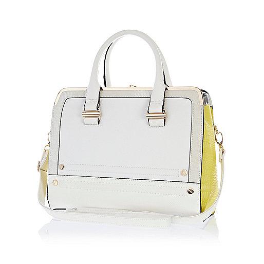 White color block metal plate square bag