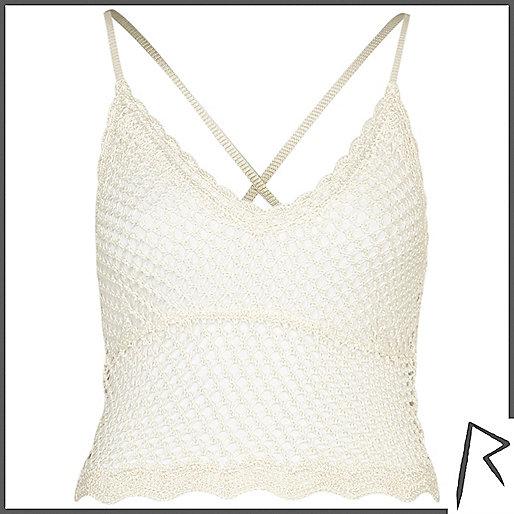 White Rihanna crochet cami top