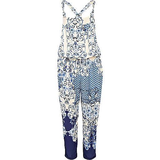Blue oriental print overall jumpsuit