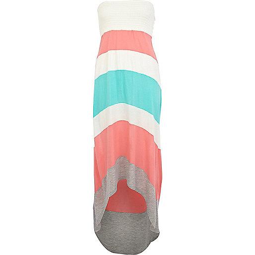 Pink color block dip hem maxi dress
