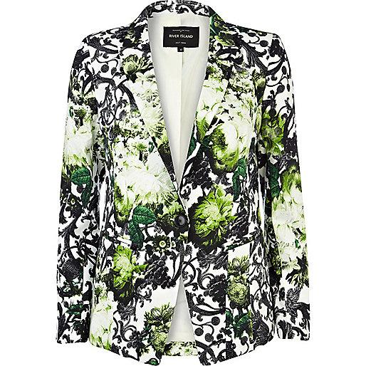 Green floral print blazer
