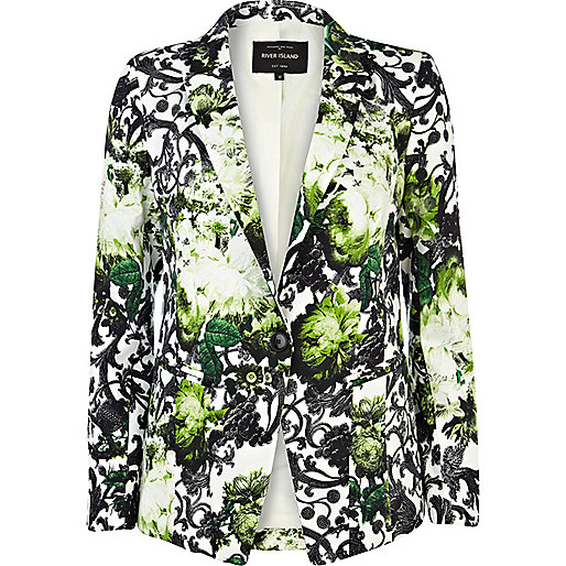 blazer vert imprim fleurs manteaux vestes promos femme. Black Bedroom Furniture Sets. Home Design Ideas