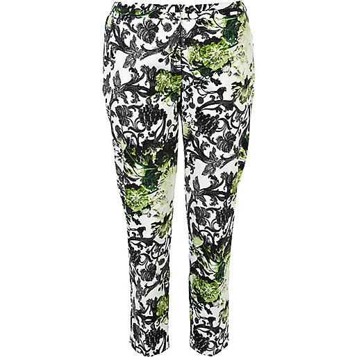 Green floral print cigarette pants