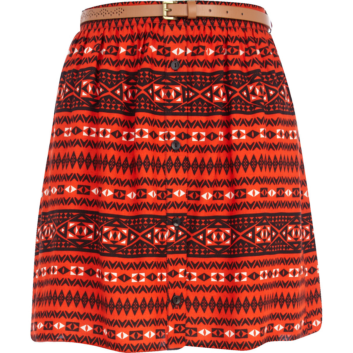 Red aztec print button up belted mini skirt