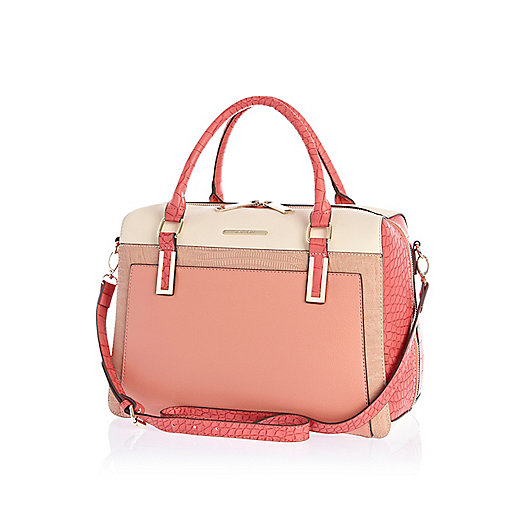 Coral croc effect bowler bag.