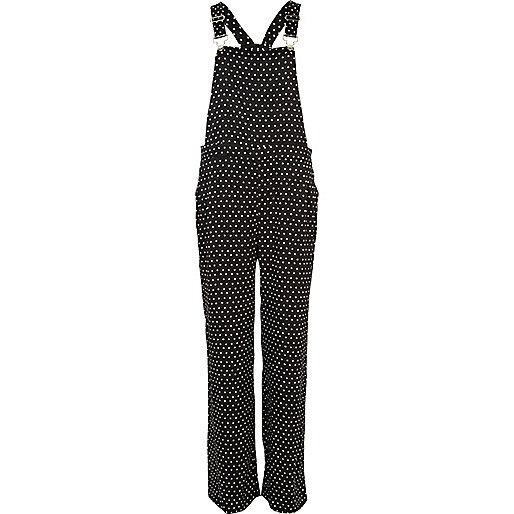 Black and white polka dot smart overalls