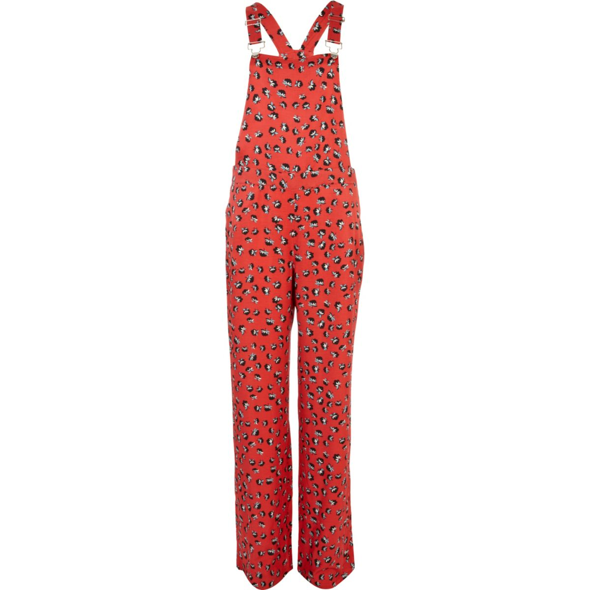 Red floral print smart overalls
