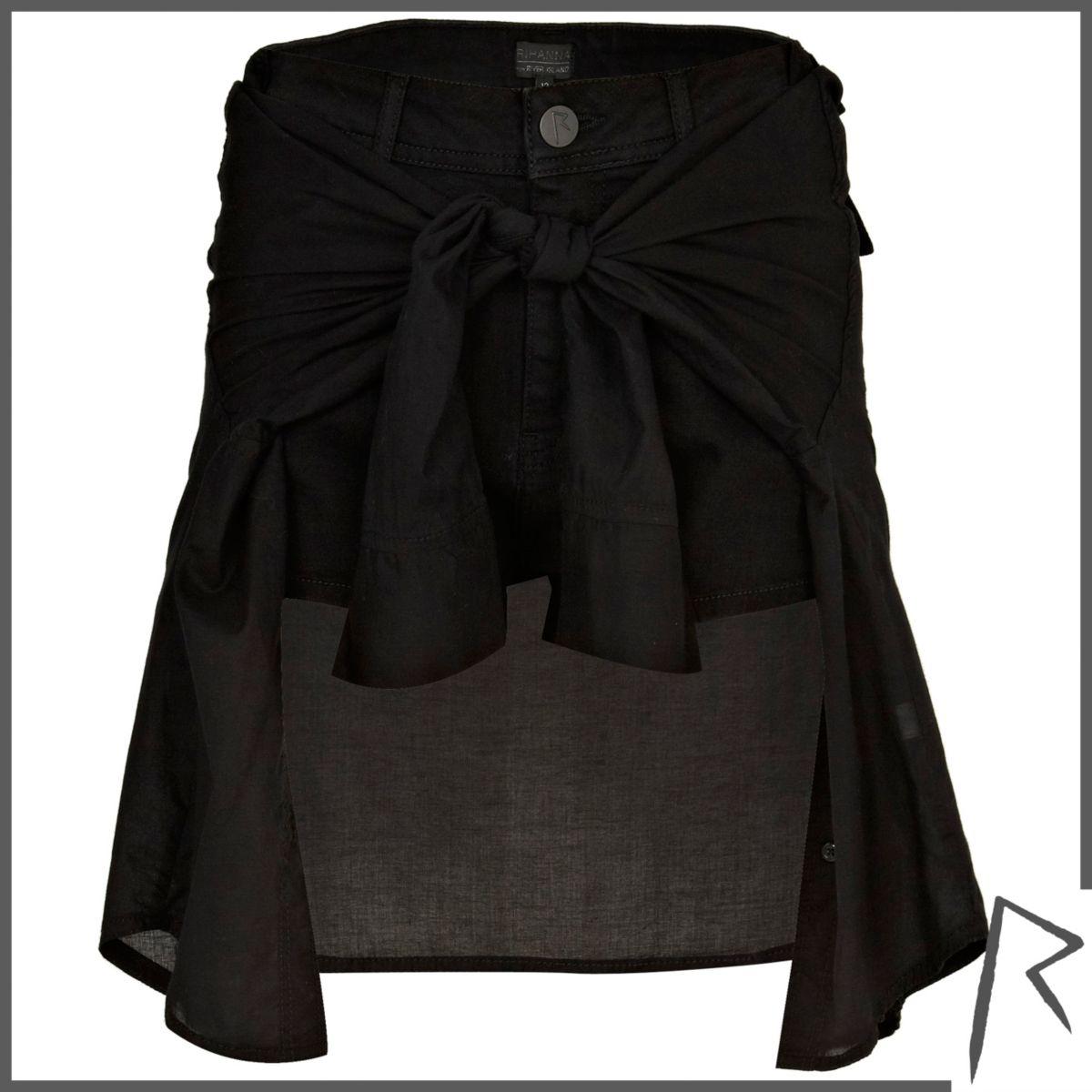Black Rihanna tied shirt denim shorts