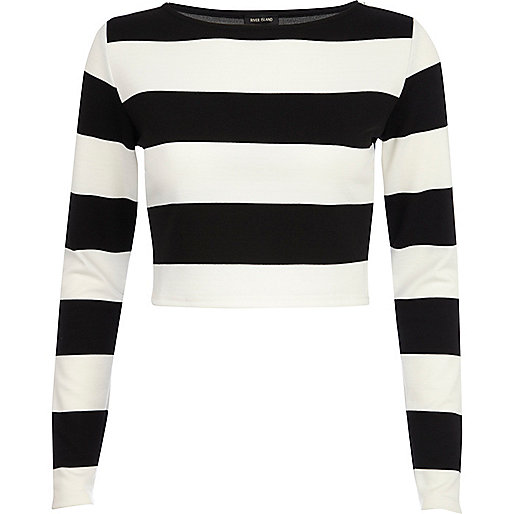 Black and white chunky stripe crop top
