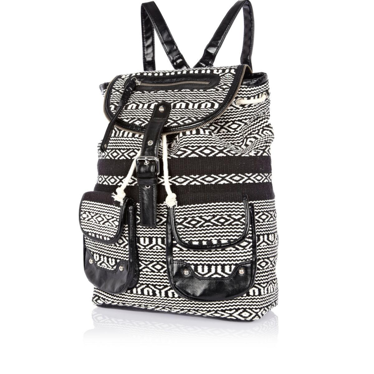 Black and white aztec woven backpack
