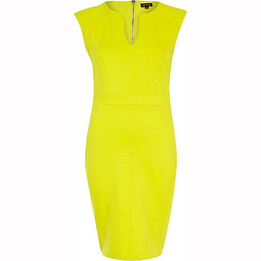 Lime cap sleeve bodycon dress