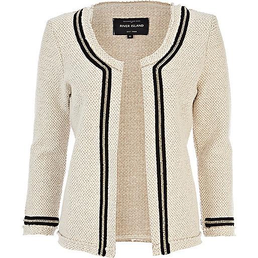 Cream chain detail textured jacket