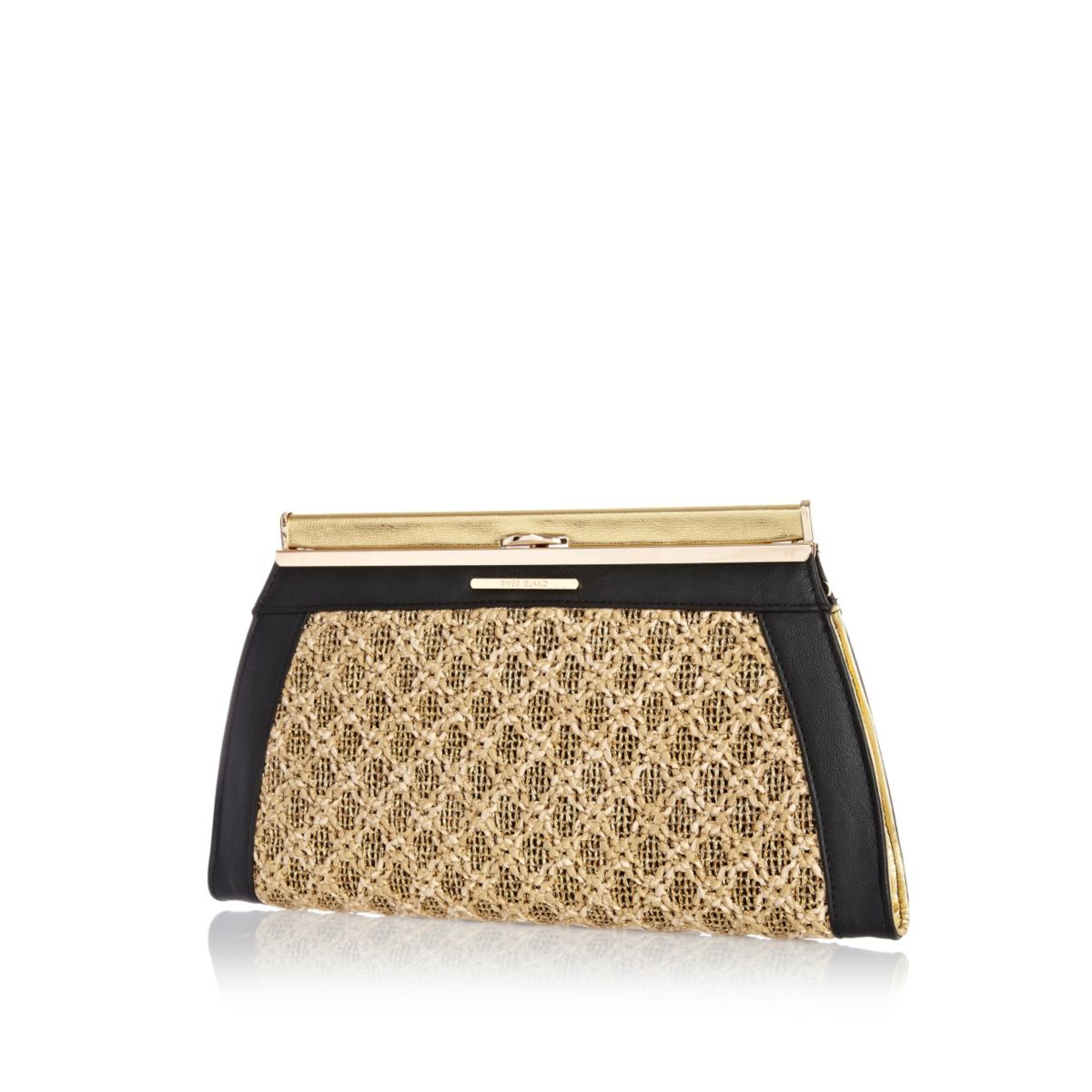 Gold metallic weave clutch bag