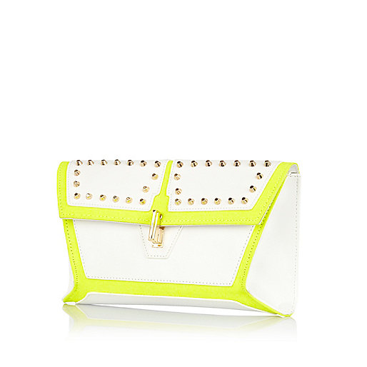 White contrast panel studded clutch bag