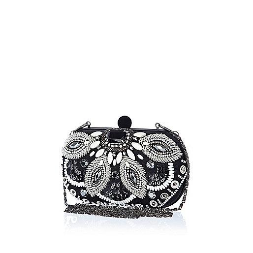 Black bead embellished box clutch bag