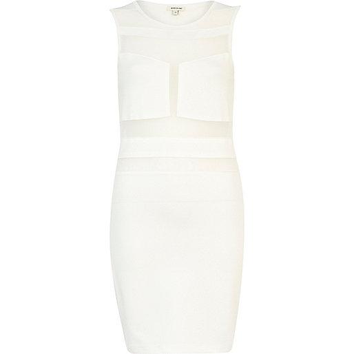 White sheer panel sleeveless bodycon dress