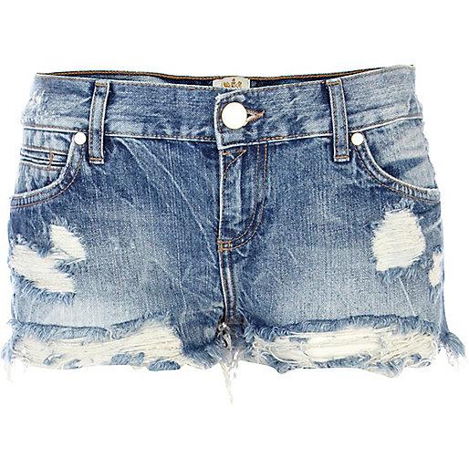 Mid wash denim distressed hotpants - Shorts - Sale - women