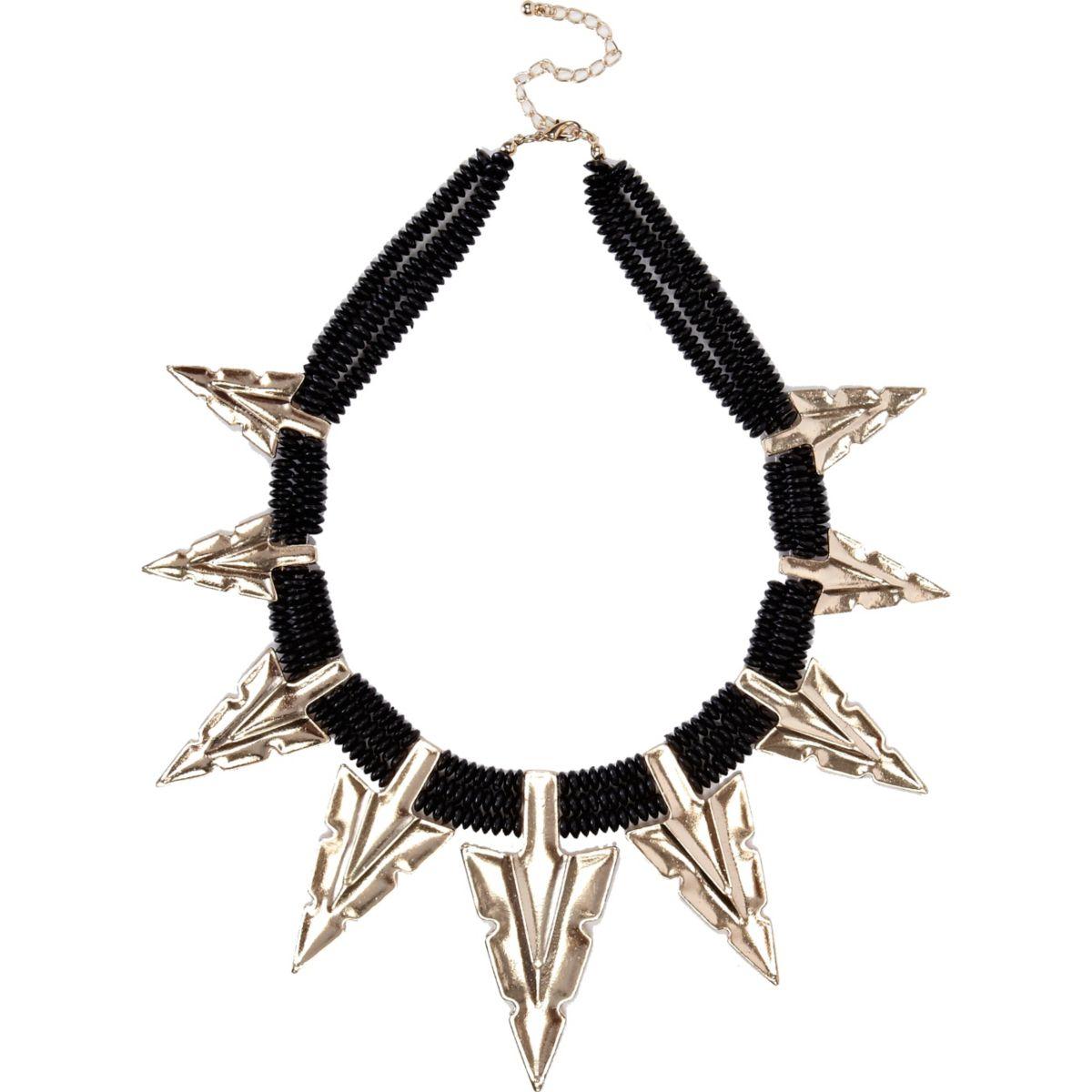 Black oversized arrowhead statement necklace