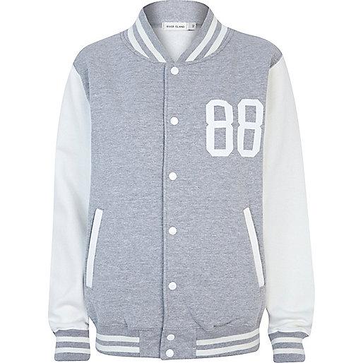 Grey studded varsity jacket
