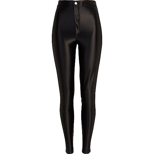 Black wet look tube pants