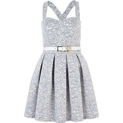 Blue print belted prom dress