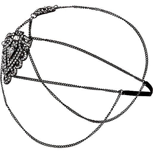 Gunmetal tone embellished hair chain