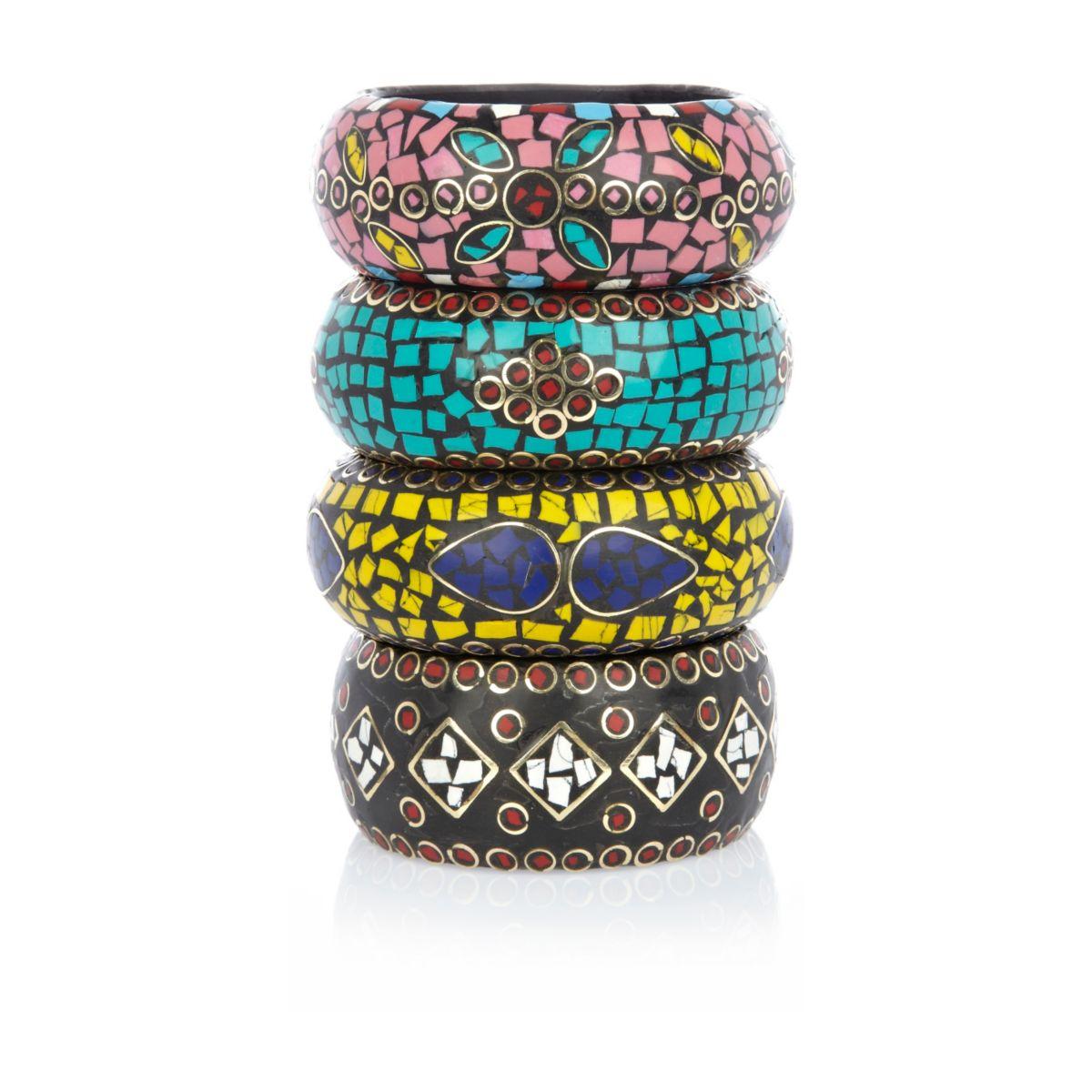 Multicolored mosaic chunky bangles