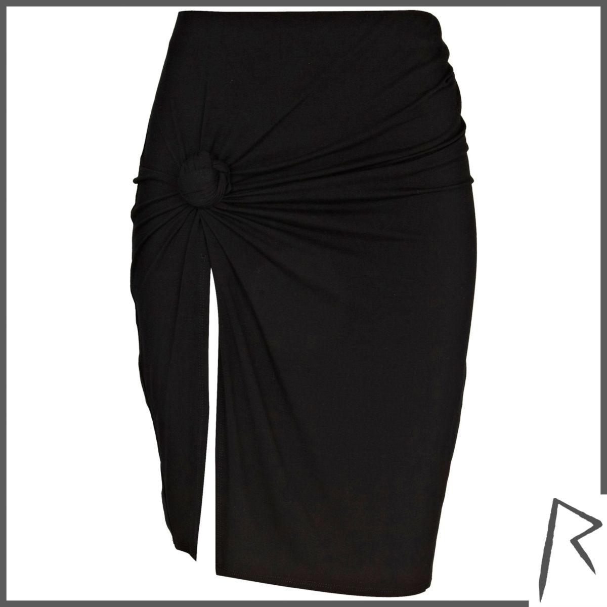 Black Rihanna knot front thigh split skirt