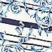 Blue floral stripe print full midi skirt