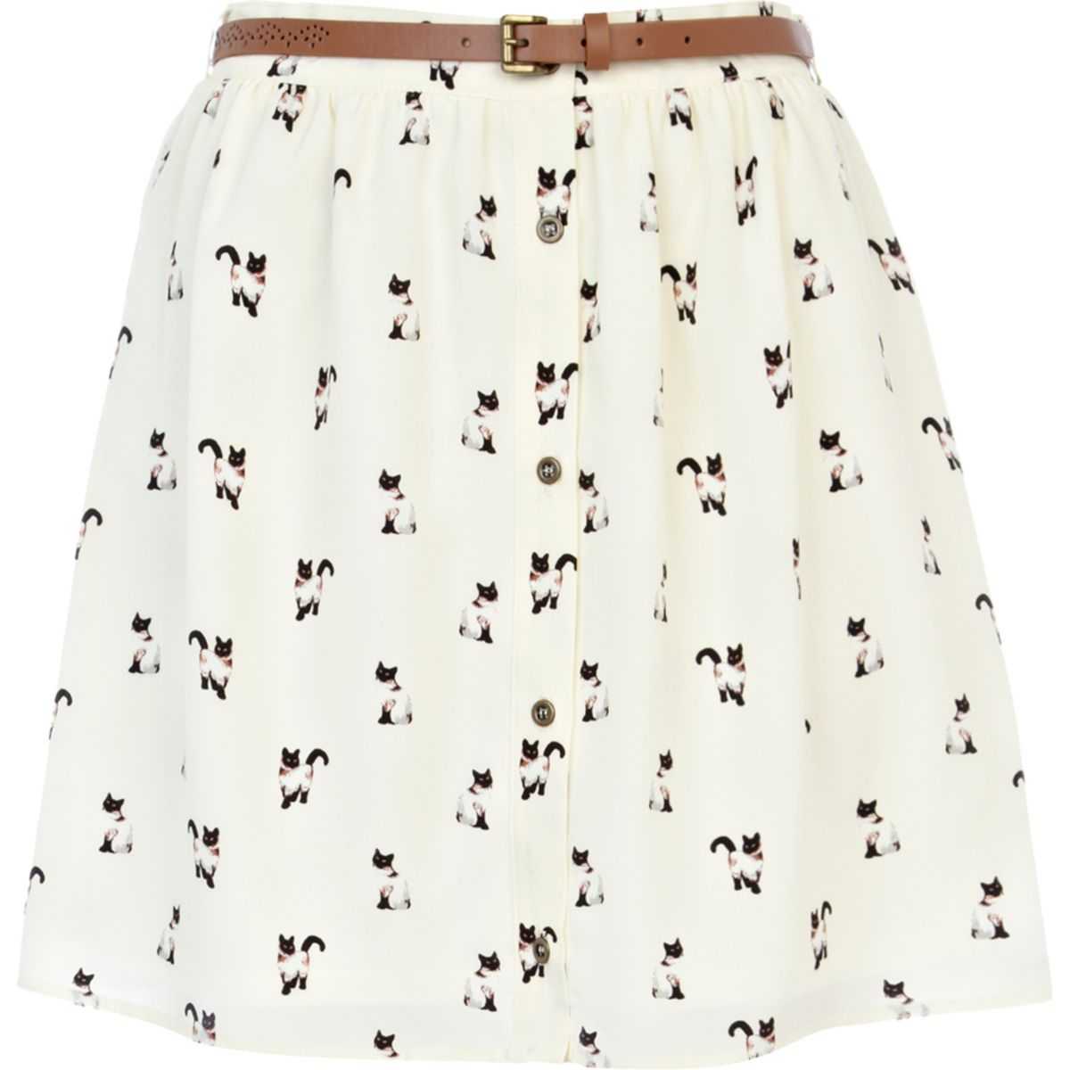 Cream cat print belted button down skirt
