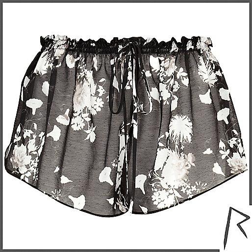 Black floral print Rihanna sheer shorts