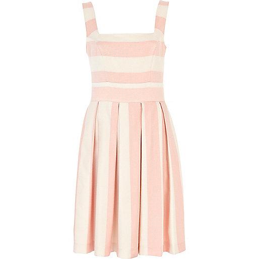 Pink stripe midi prom dress
